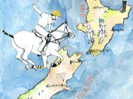 New Zealand Polo Clubs, Map Illustration for The Polo Paper