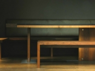 Walnut Furniture, Walnut, Leather, Waxed Bronze and Stone