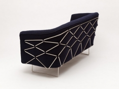 Gauze Sofa, Upholstered sofa cradled in steel