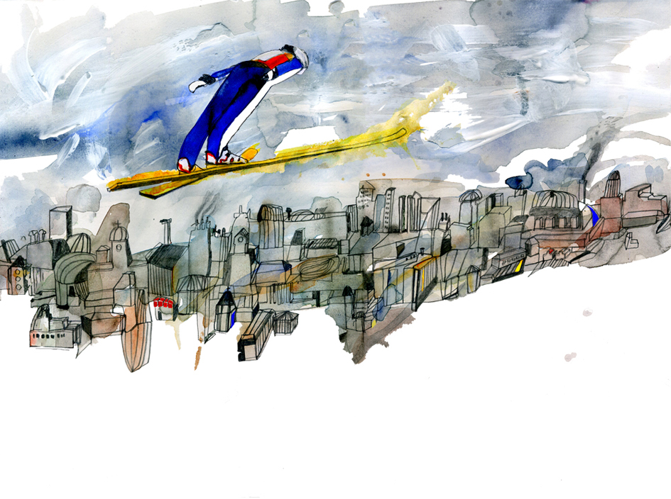 Ski Jump, watercolour and pencil illustration