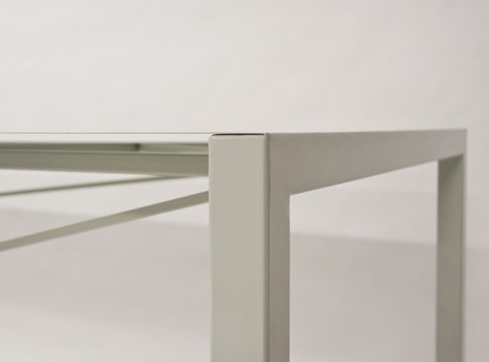 #177 Stretched steel table by Tom Cecil