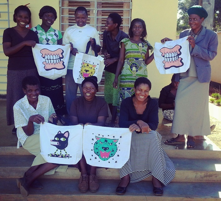 Khama group with the Street Art Bags in Malawi