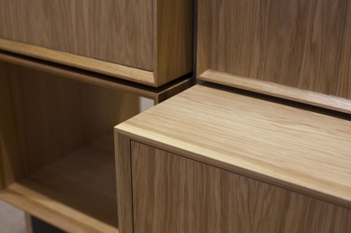 Close up of the the oak wooden boxes